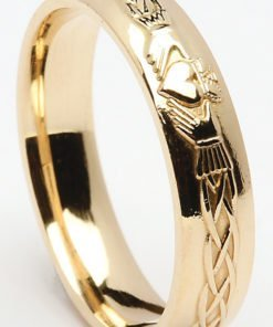 Gold Claddagh Celtic Wedding Band