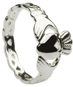 Silver Claddagh Ring with Woven Band