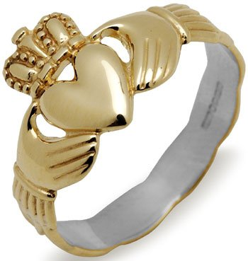 14k Yellow Gold on Sterling Silver Claddagh