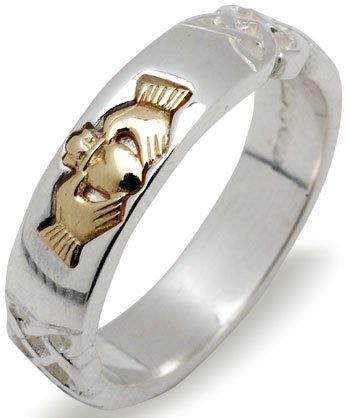 Silver and Gold Claddagh Ring with Trinity Knot Detail
