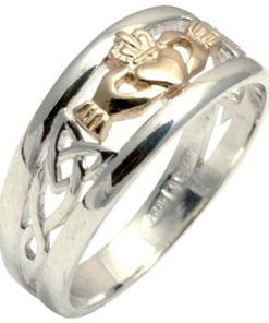 Silver and Gold Claddagh and Trinity Knot Ring