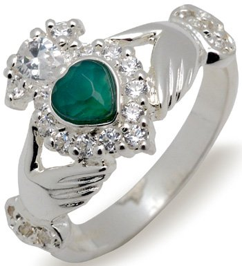 Sterling Silver Green Agage and Crystal Ring