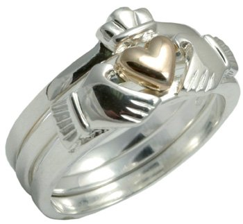 Sterling Silver 3 Piece Claddagh Ring with 10k Gold Plated Heart