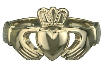 Puffed Heart Gents Heavy Gold Claddagh Ring