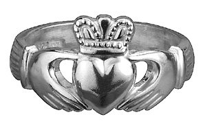 Silver Puffed Heart Ladies Claddagh Ring