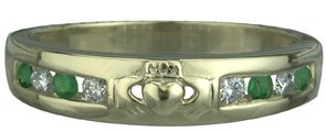 14k Yellow Gold Claddagh Eternity Ring set with Diamonds and Emeralds