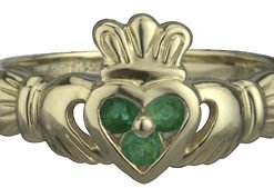 14k Yellow Gold Claddagh Emerald Set
