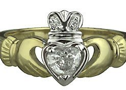18k Yellow & White Gold Diamond Heart Claddagh Ring