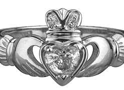 18k White Gold Diamond Claddagh Wedding Band