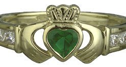 10k Yellow Gold Emerald Heart and C.Z. Sholders