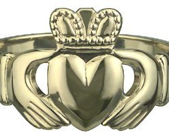 10k Yellow Gold Heavy Gents Claddagh Ring