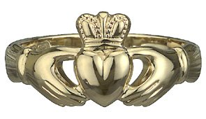 14k Yellow Gold Puffed Heart Heavy Claddagh Ring