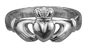 14k White Gold Puffed Heart Maids Heavy Claddagh Ring