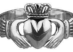 14k White Gold Maids Traditional Claddagh Ring