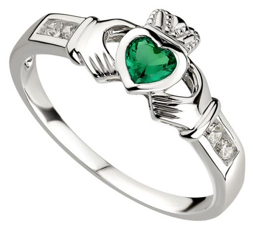 Silver Claddagh Ring with Emerald Heart and C.Z. Shoulders