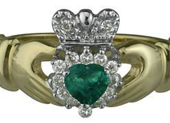14k Claddagh Ring Set with Emerald and Diamonds