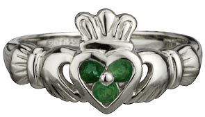 14k White Gold Ladies Claddagh Emerald Set