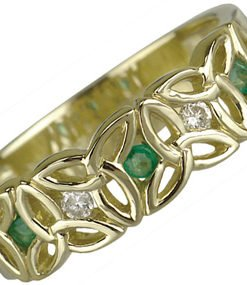 14k Yellow Gold Trinity Knot Diamond and Emerald