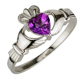Ladies Sterling Silver Birthstone Claddagh Ring- October