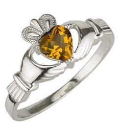 Ladies Sterling Silver Birthstone Claddagh Ring- November