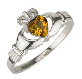 Ladies Sterling Silver Birthstone Claddagh Ring- November