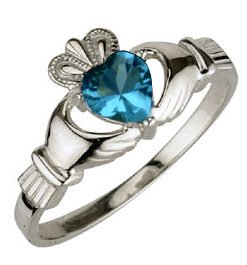 Ladies Sterling Silver Birthstone Claddagh Ring- December