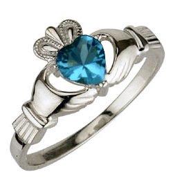 Ladies Sterling Silver Birthstone Claddagh Ring- December