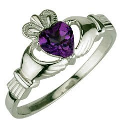 Ladies Sterling Silver Birthstone Claddagh - February