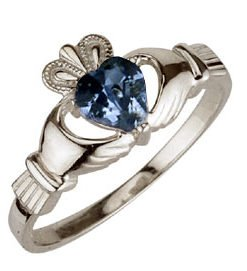 Ladies Sterling Silver Birthstone Claddagh - March