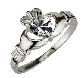 Ladies Sterling Silver Birthstone Claddagh Ring- April