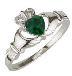 Ladies Sterling Silver Birthstone Claddagh Ring- May