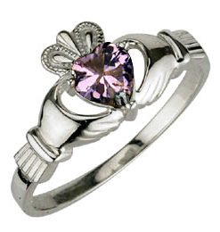 Ladies Sterling Silver Birthstone Claddagh Ring- June