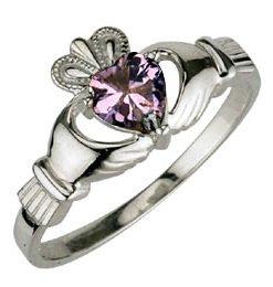 Ladies Sterling Silver Birthstone Claddagh Ring- June