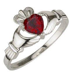 Ladies Sterling Silver Birthstone Claddagh Ring- July