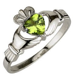 Ladies Sterling Silver Birthstone Claddagh Ring- August