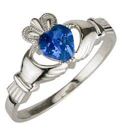 Ladies Sterling Silver Birthstone Claddagh Ring- September