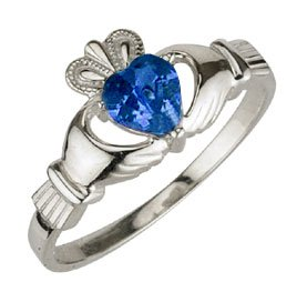 Ladies Sterling Silver Birthstone Claddagh Ring- September
