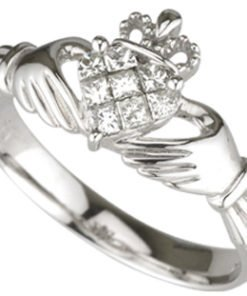 14k White Gold Diamond Claddagh Engagement Ring