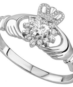 Silver Cublic Zirconia Claddagh Ring
