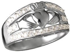 Sterling Silver Wide Claddagh Ring with C.Z. Setting