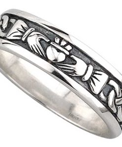 Silver Ladies Oxidised Claddagh Band