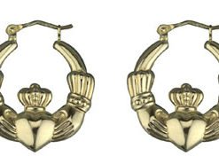 14k Yellow Gold Claddagh Creole Earrings