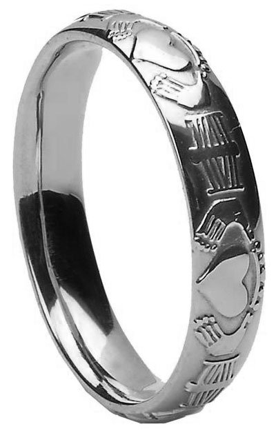 White Gold Claddagh Court Wedding Ring