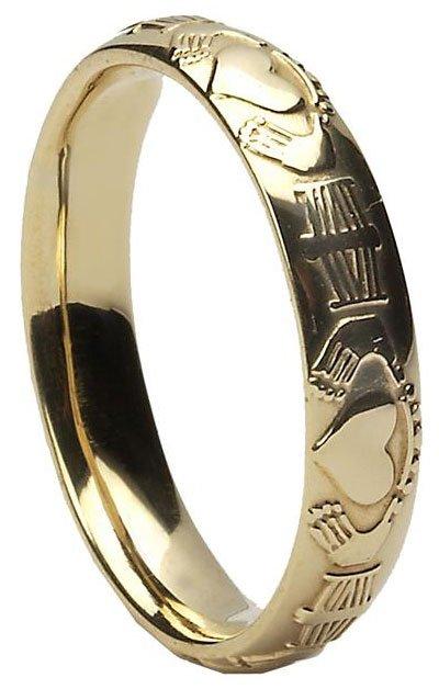Gold Claddagh Court Wedding Ring