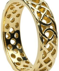 Gold Pierced Celtic Knot Wedding Ring