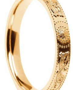 Narrow Court Shape Gold Celtic Shield Wedding Ring