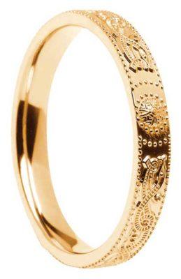 Narrow Court Shape Gold Celtic Shield Wedding Ring