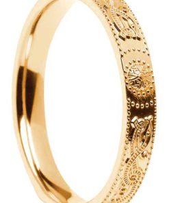 Narrow Gold Celtic Shield Wedding Ring