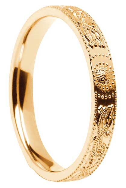 Narrow Gold Celtic Shield Wedding Ring