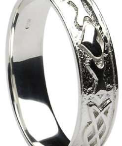 Silver Claddagh Celtic Knot Wedding Band